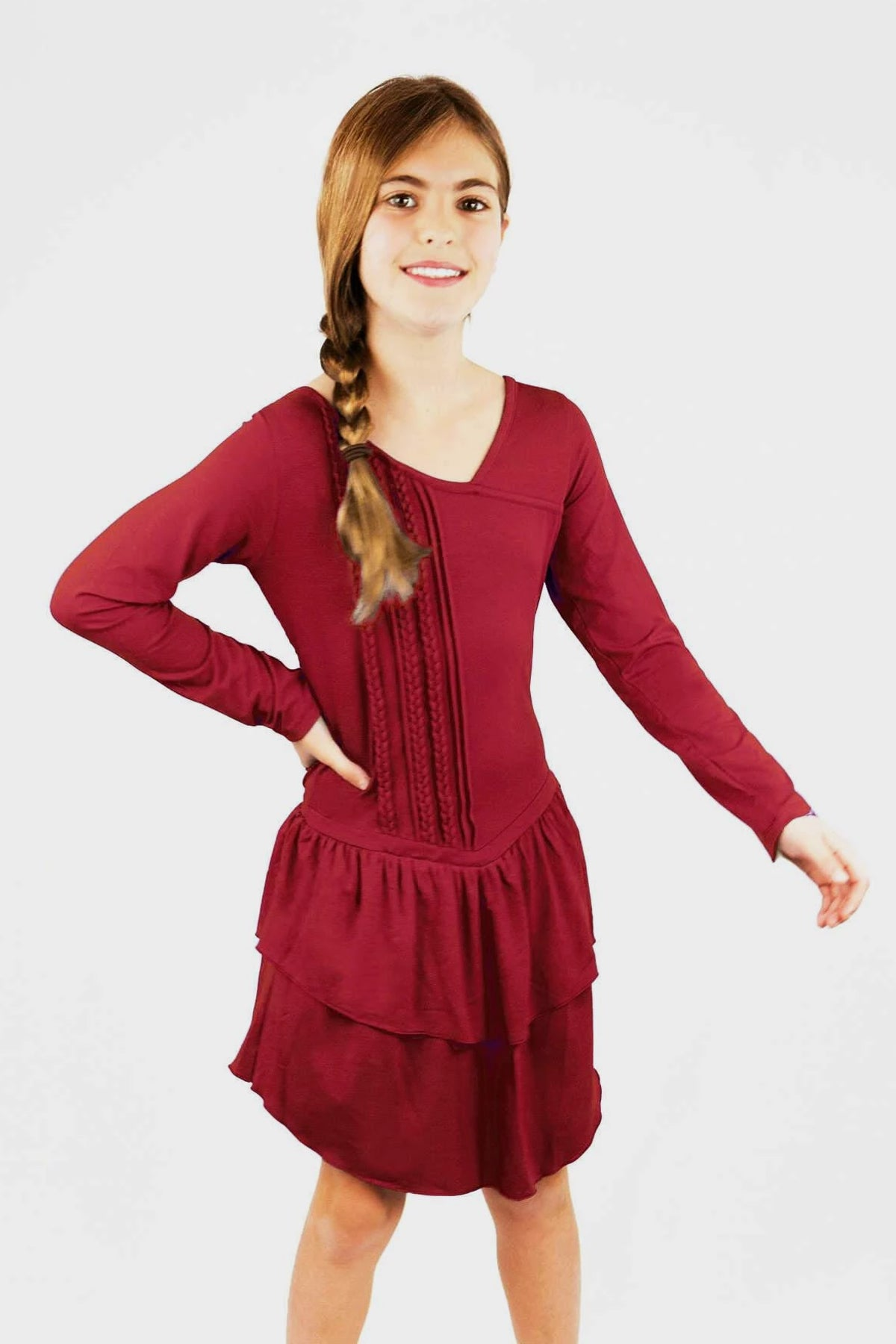 Celestial - Burgundy Ruffle Dress