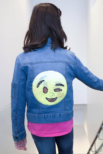 Charli - Reversible Sequin Emoji Jean Jacket