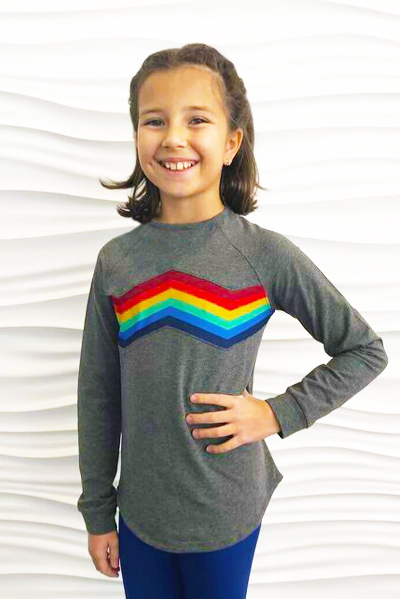 Clair - Rainbow Stripe Long Sleeve Top