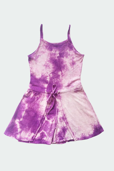 Deidre - Purple Tie Dye Girls Romper Dress