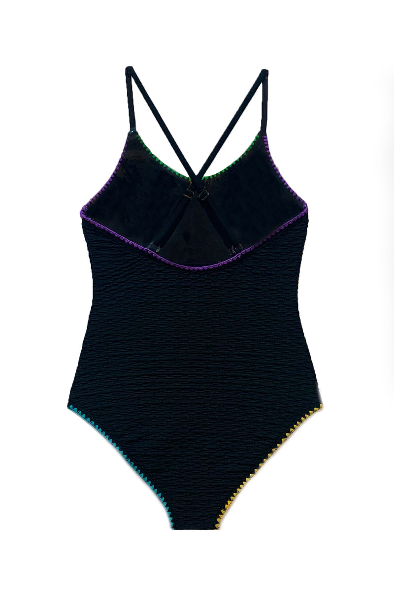 Diki - Black Textured One Piece Swimsuit