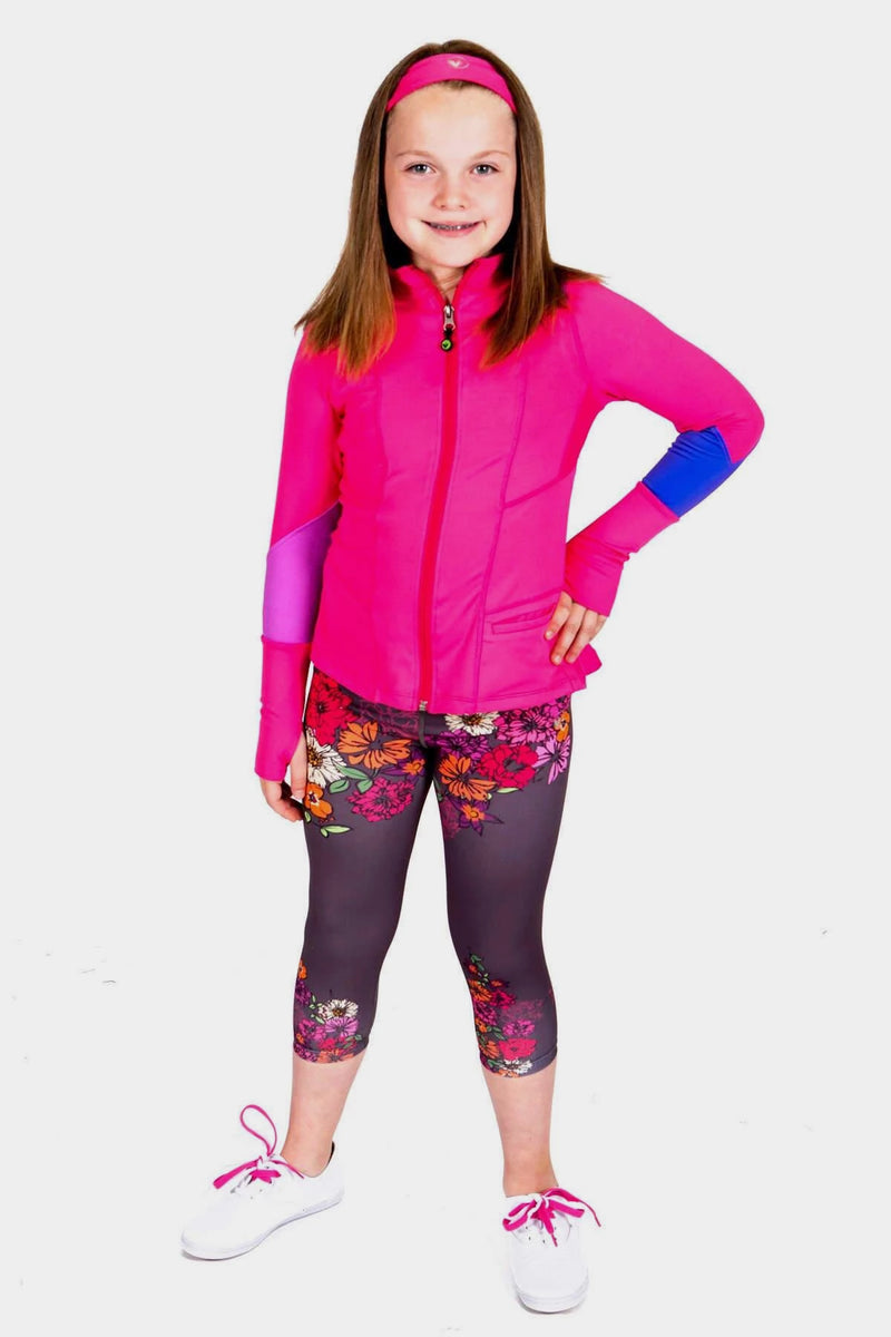 Fuchsia Ruffle Jacket + Floral Printed Leggings Set