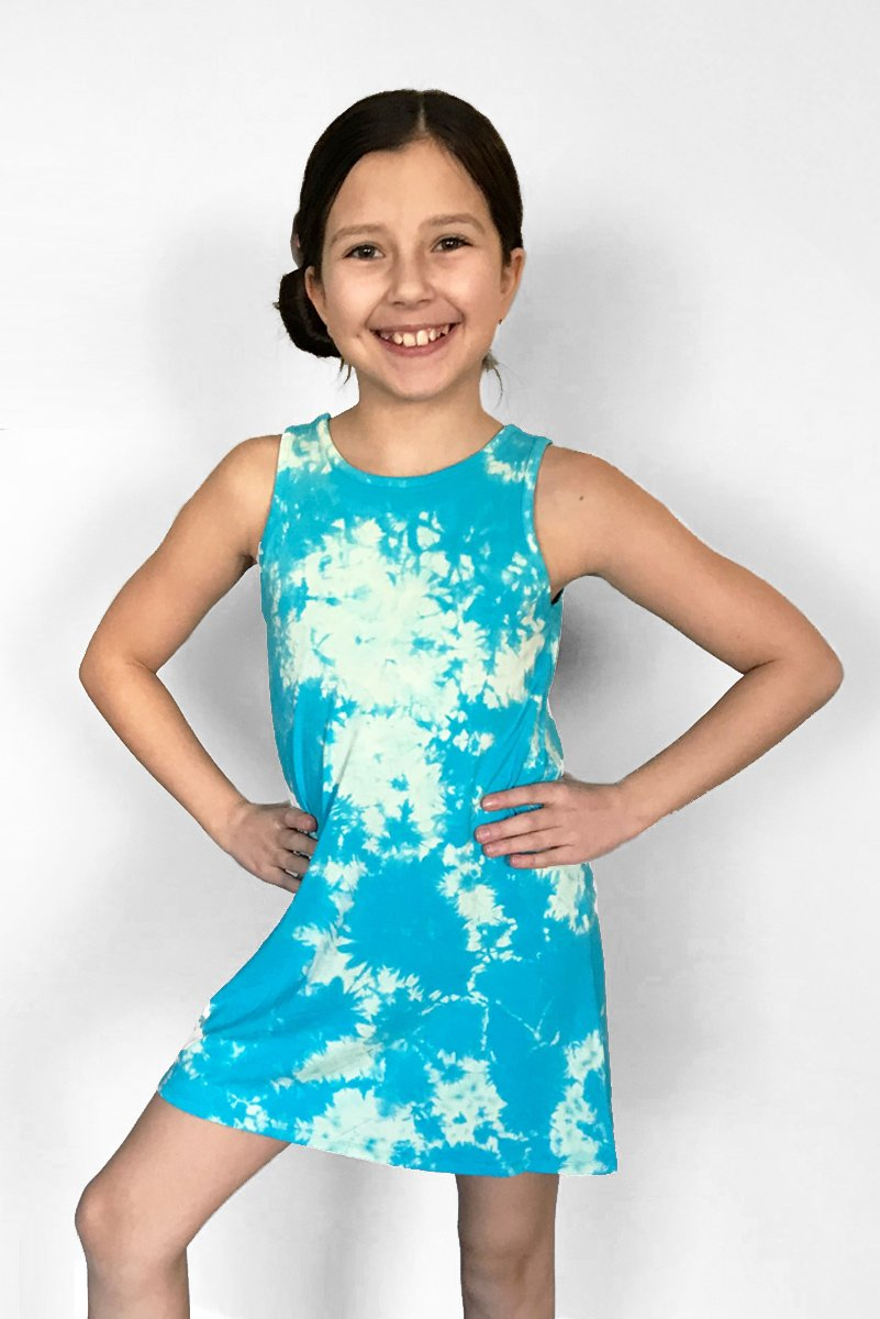 Gemma - Blue Tie Dye TANK DRESS