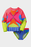 Geometric Print Girls Rashguard Set