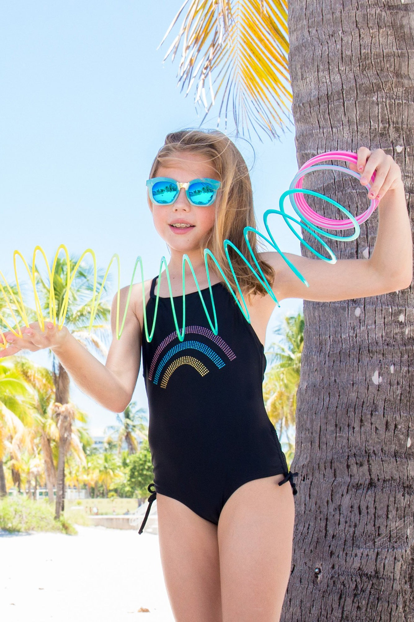 Harley - Rainbow Rhinestone One Piece Swimsuit