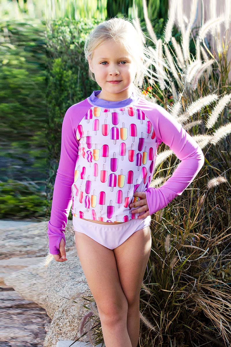 Helga - Popsicle Print Pastel Purple Rash Guard Swimsuit Set