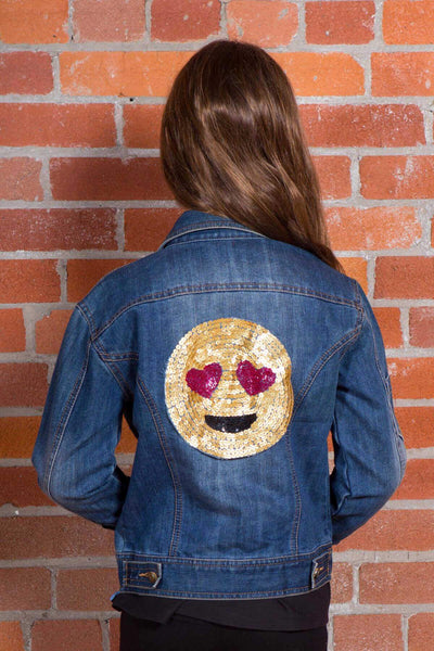 Honey - Emoji Sequin Jean Jacket