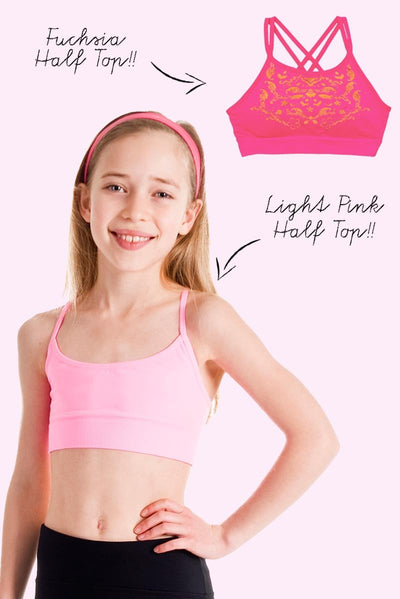 Active 2 Pack - Light Pink and Fuchsia Half Top
