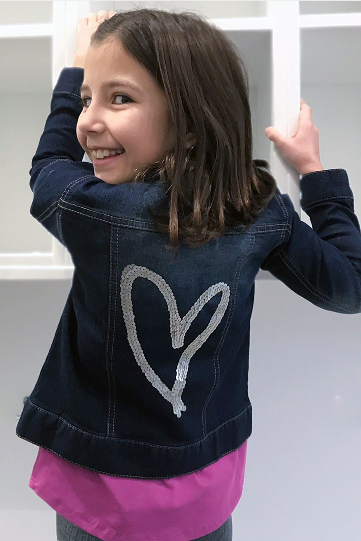 Hana - Hand Sequin Heart Jean Jacket