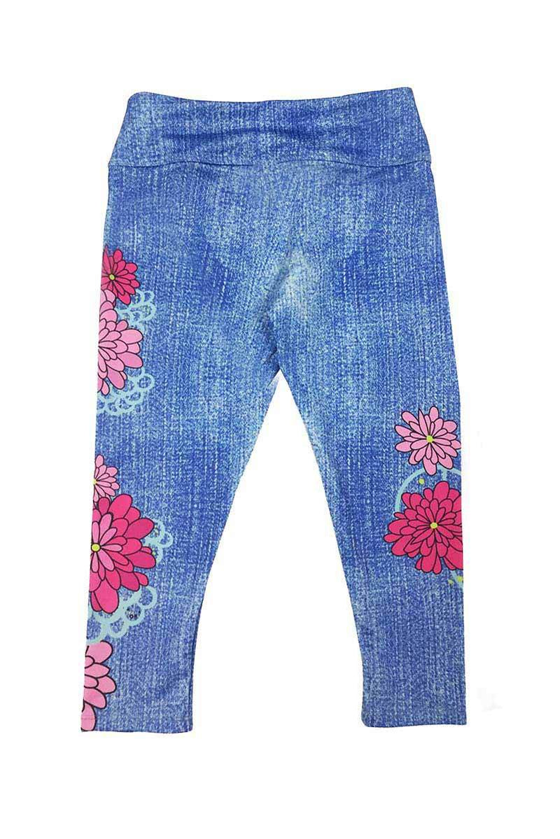 JULIET - FLORAL Denim Look Activewear Capri LEGGINGS
