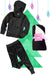 Girls Bubble Hoodie, Jogger, and Blanket Set - Black