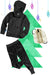 Girls Bubble Hoodie, Jogger, and Backpack Set - Black