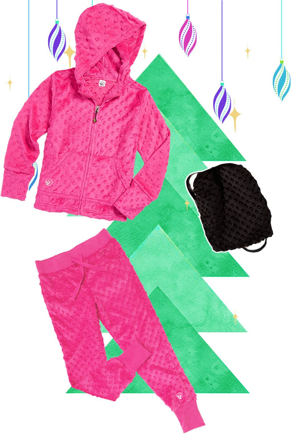 Girls Bubble Hoodie, Jogger, and Backpack Set - Fuchsia