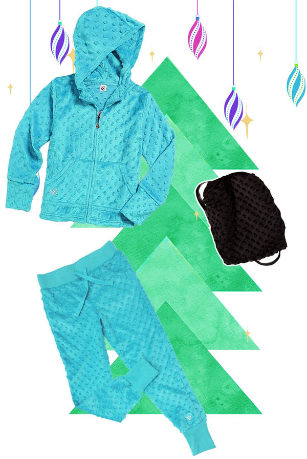 Girls Bubble Hoodie, Jogger, and Backpack Set - Turquoise