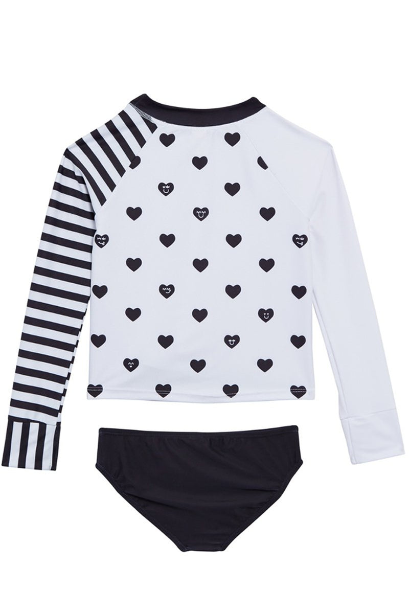 KIMIA  - HEART PRINT RASH GUARD SWIMSUIT SET