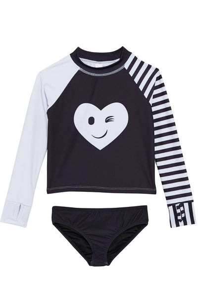 Front View of Limeapple Kimia Girls Rash Guard Swimsuit Set