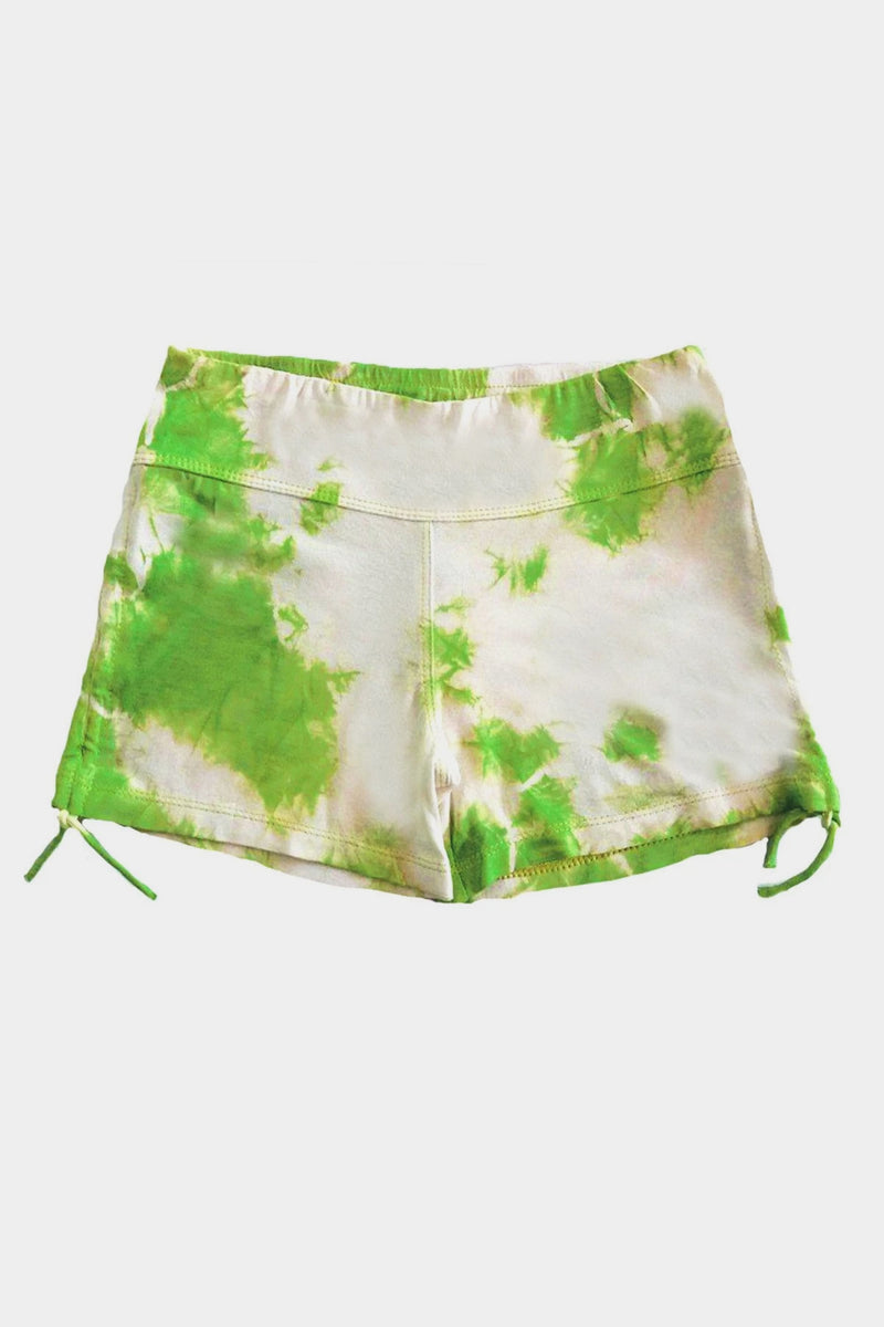 Knit Gathered Shorts - Lime Tie Dye