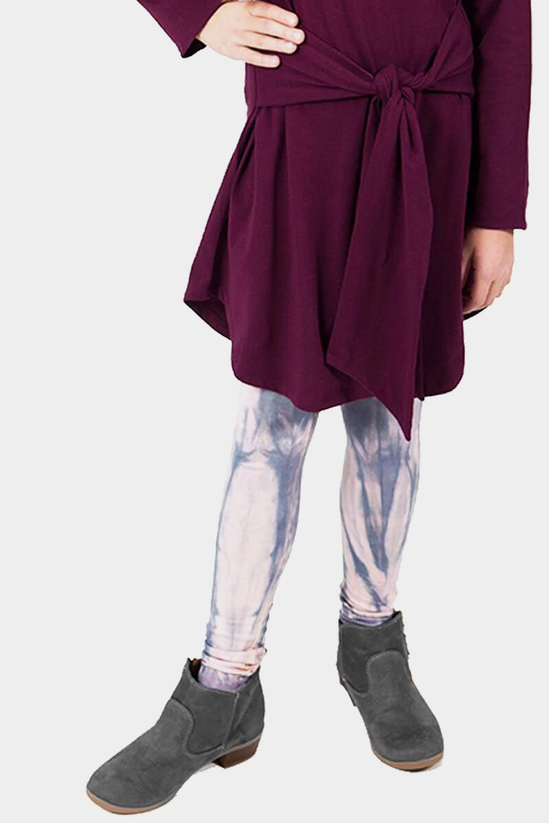 Knit Leggings - Pink Grey TIE DYE