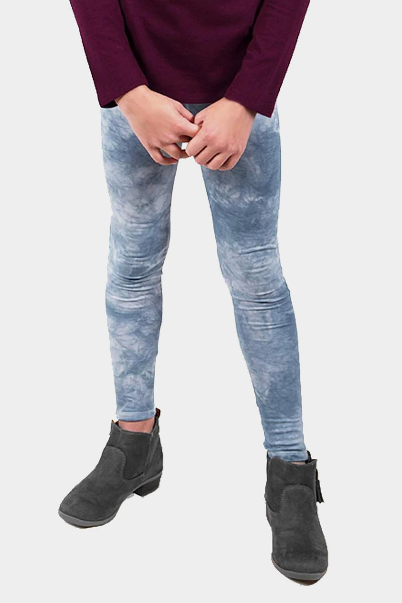 Knit Legging - Black and Grey Tie Dye
