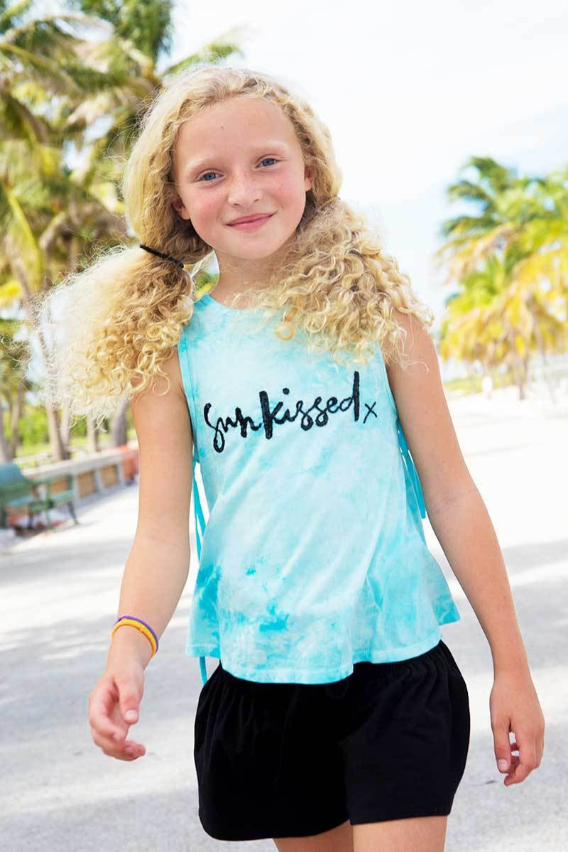 LAKEY - TURQUOISE TIE DYE SUNKISSED TANK TOP