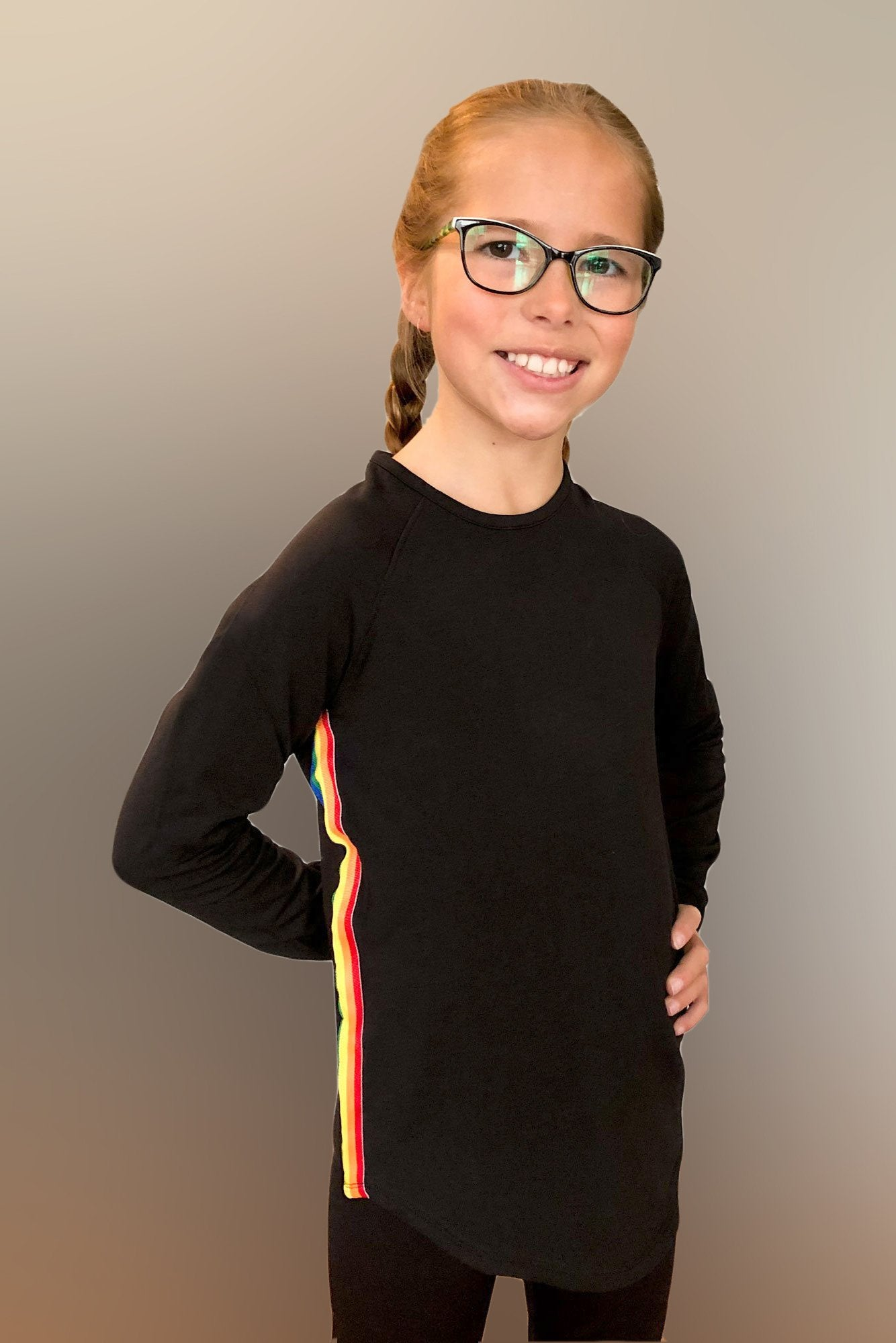 Lennie- Black Rainbow Side Stripe Long Sleeve Top.