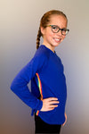 Lennie- Blue Rainbow Side Stripe Long Sleeve Top