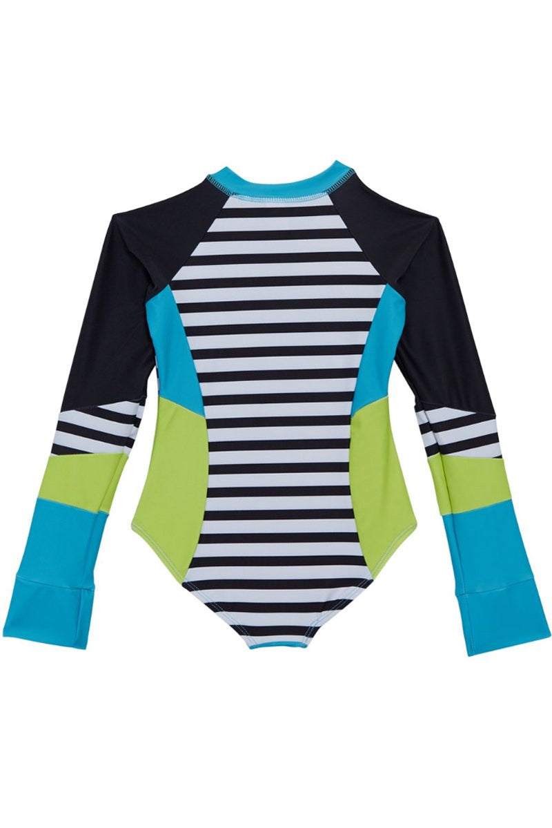 Louise - Girls Blue Long Sleeve One Piece Swimsuit