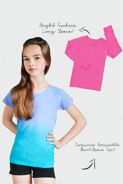 Seamless Activewear Tops 2 Pack - Turquoise Periwinkle and Fuchsia