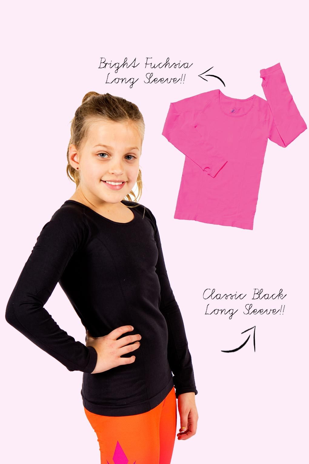 Active Gear Long Sleeve Tops 2 Pack - Fuchsia and Black