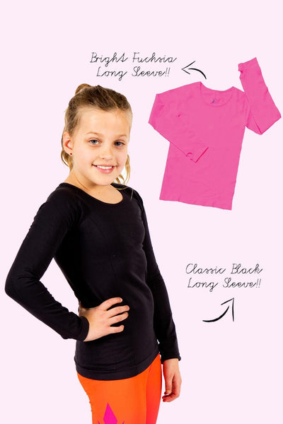Seamless Activewear Long Sleeve Tops 2 Pack - Fuchsia and Black