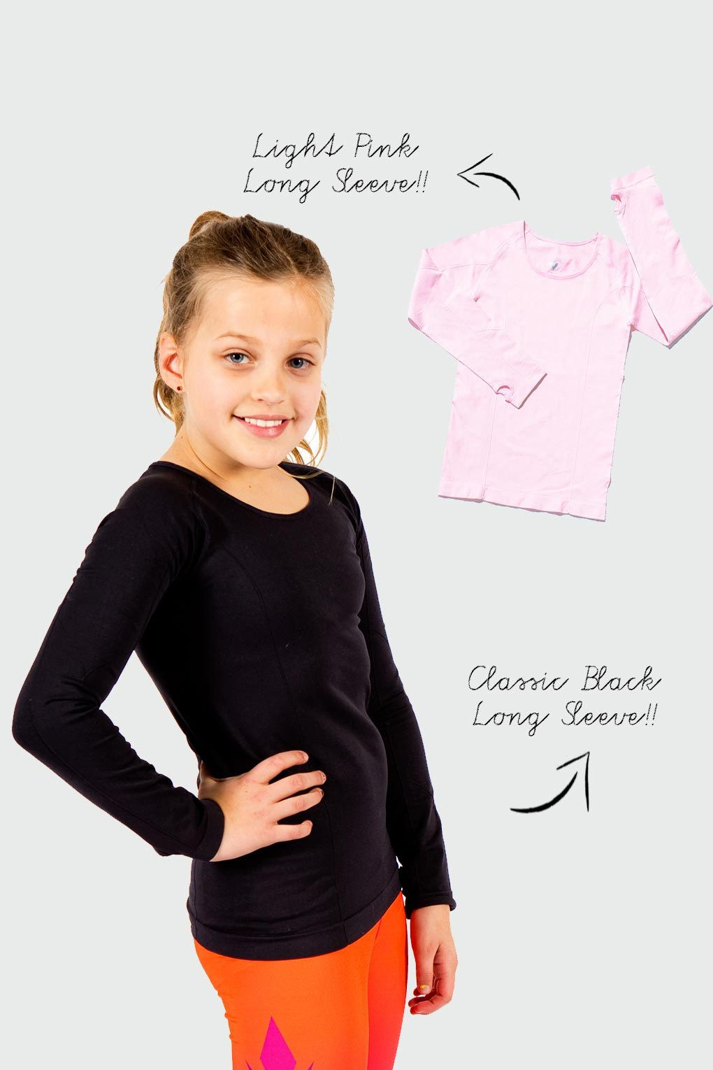 Active Gear Long Sleeve Tops 2 Pack - Black and Light Pink