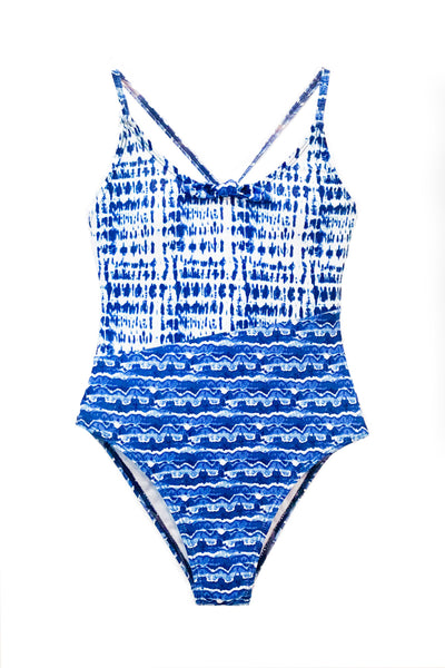 Louiza - Blue Watercolor One Piece Swimsuit
