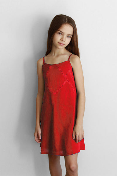 MERA - RED LACE TANK DRESS