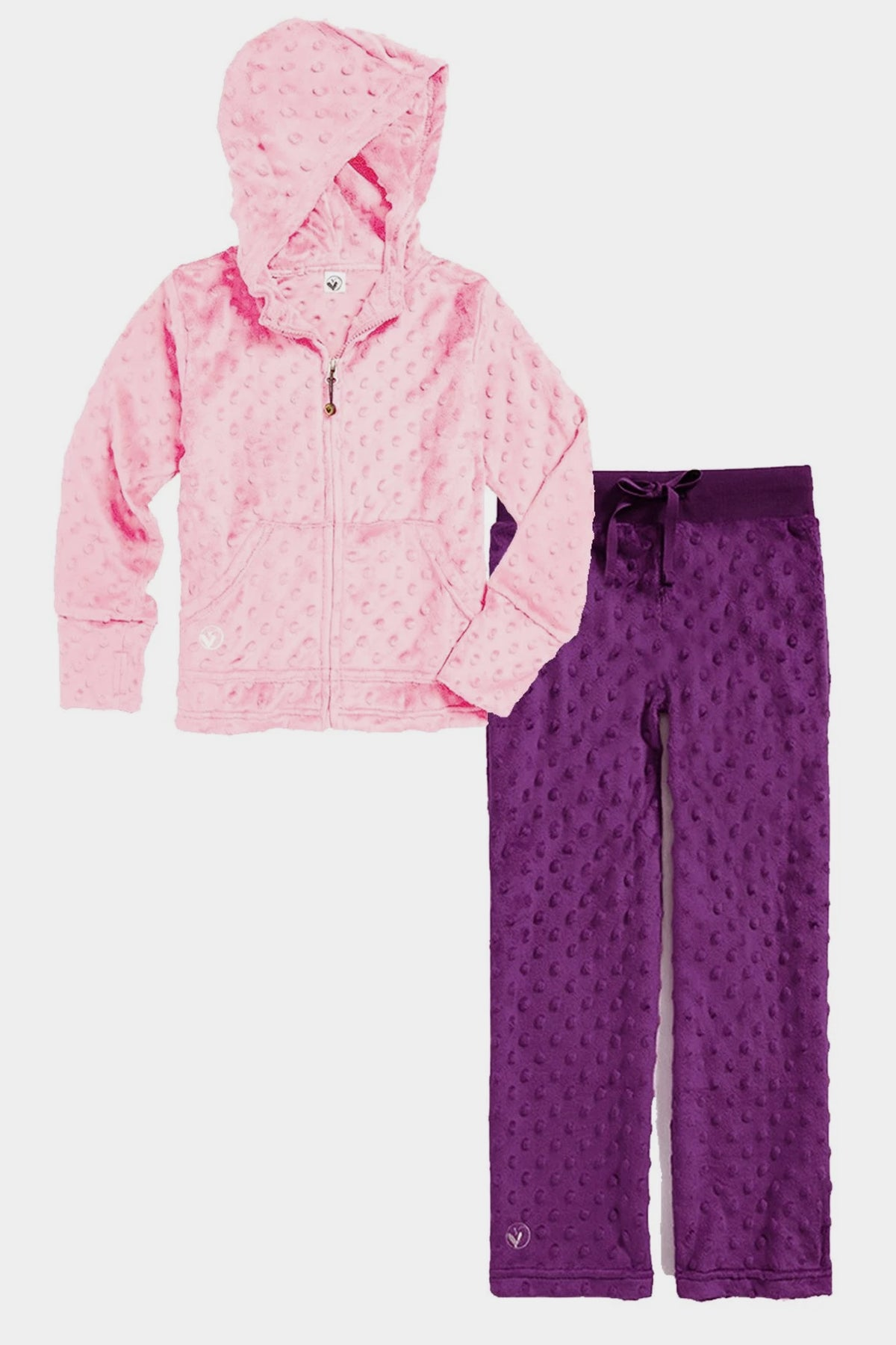 Minky Bubble Hoodie + Pant Set - Light Pink and Dark Purple