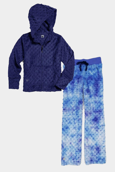 Minky Bubble Hoodie + Pant Set - Navy and Frozen Tie Dye
