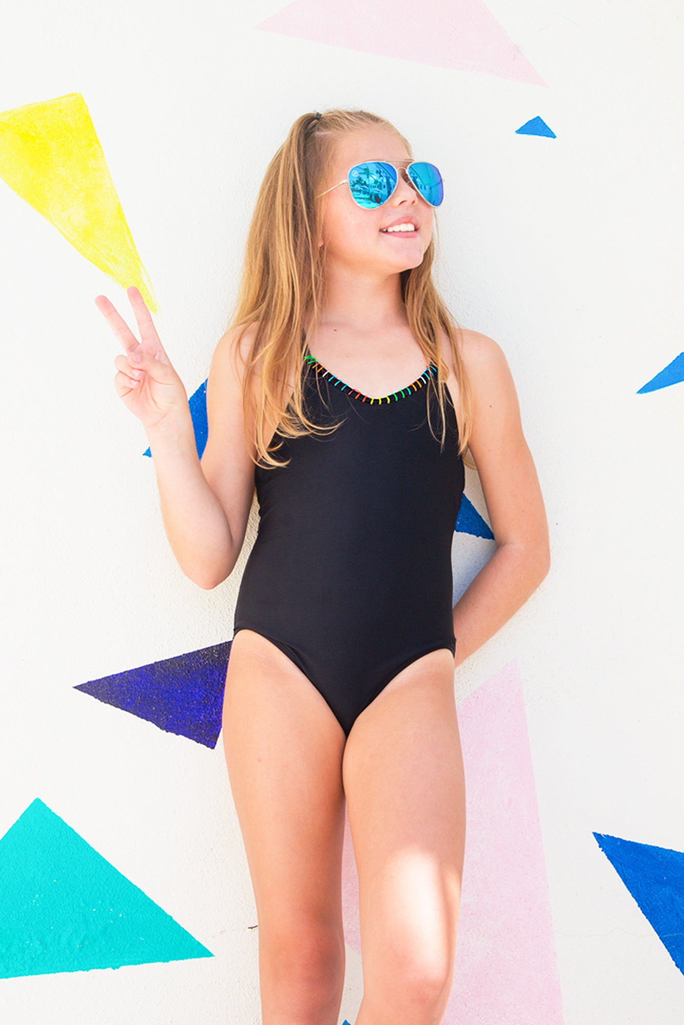 Nati - Black Textured One Piece Swimsuit