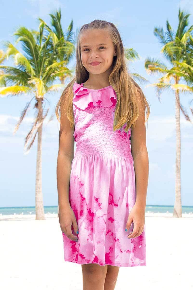 ORINDA - FUCHSIA TIE DYE SMOCKED DRESS