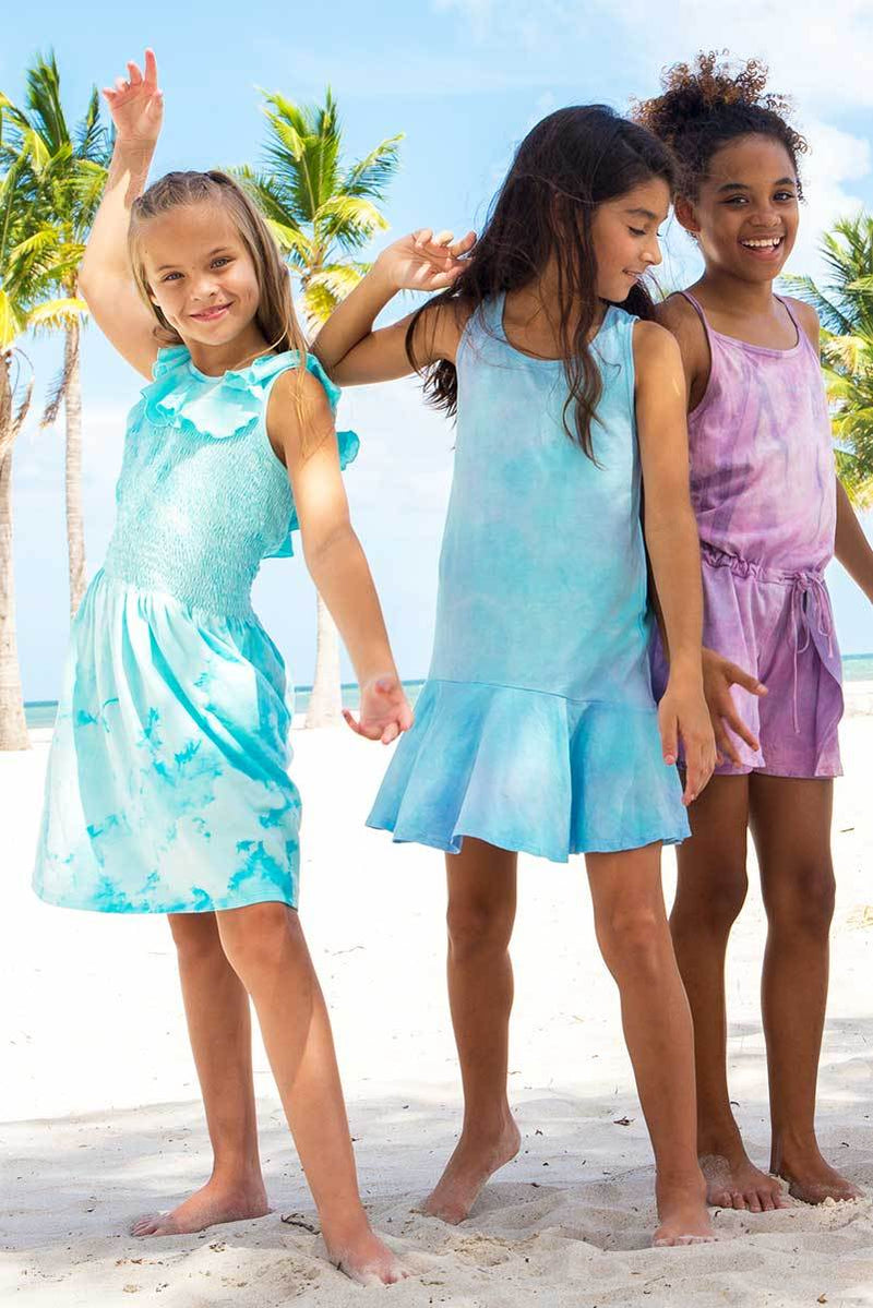 ORINDA - TURQUOISE TIE DYE SMOCKED DRESS