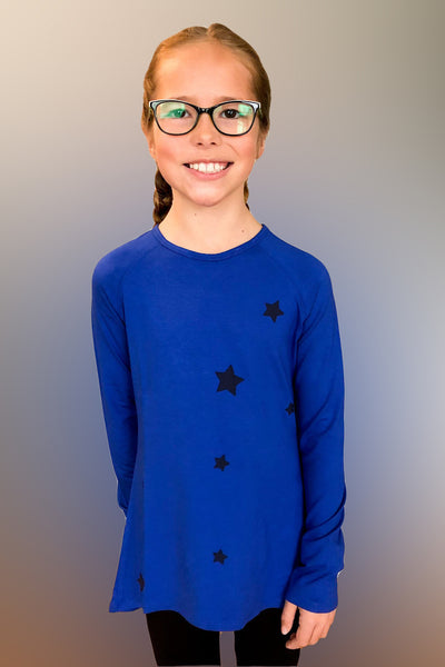 Reina - Blue Star Applique Long Sleeve Top