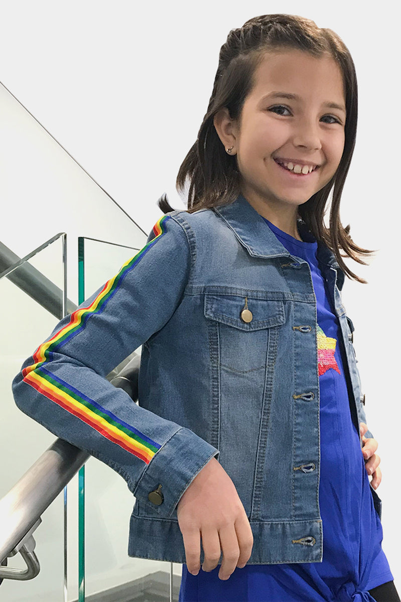 Rochell - Rainbow Stripe Jean Jacket