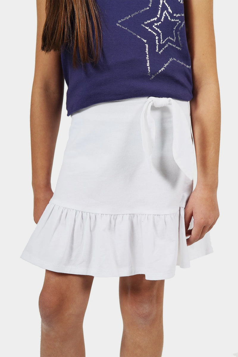 Ruffle Mock Tie Skirt - White