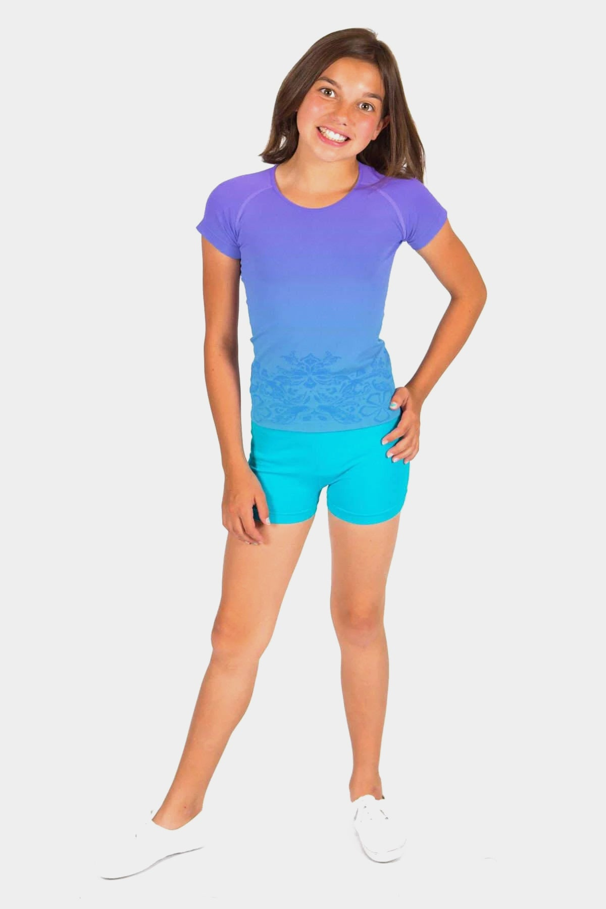 Seamless Activewear 2 Pack - Dip Dye Tee + Turquoise Mini Shorts Set