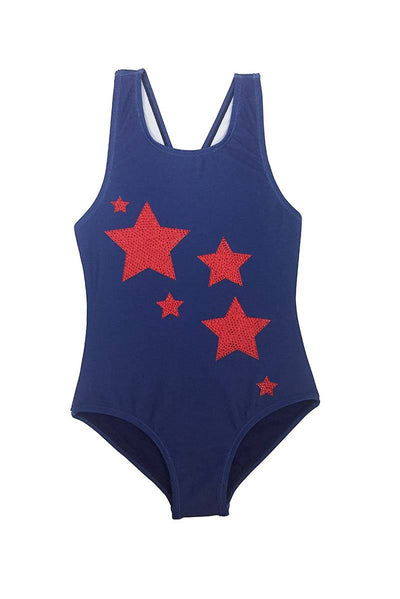 Shaela - Red Rhinestone Star Girls Navy Blue One Piece Swimsuit