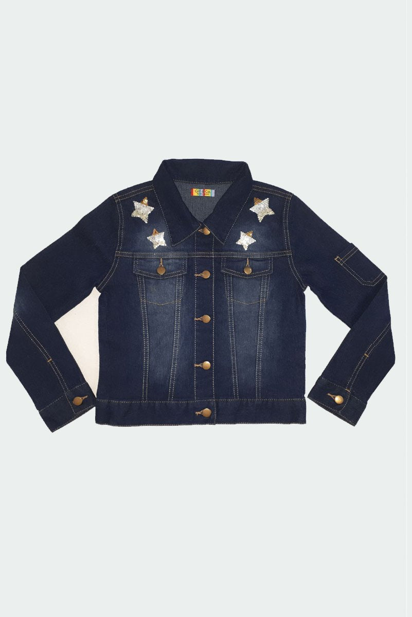 Starla - Star Sequin Jean Jacket