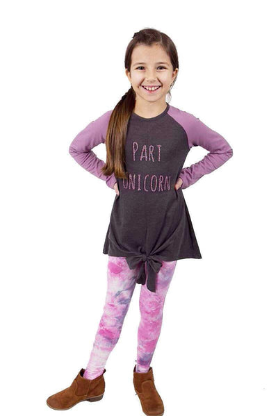 Sarah Top + Pink Grey Tie Dye Legging Set