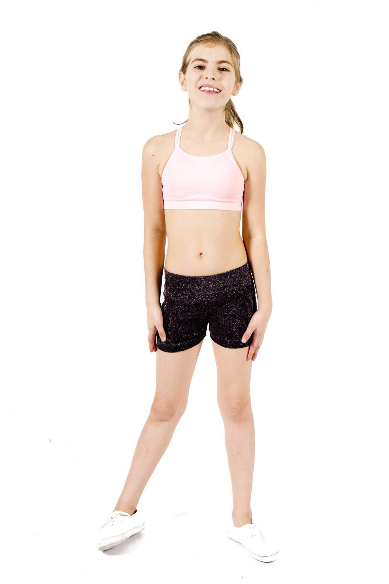Seamless Basics Activewear Light Pink Half Top + Glitter Mini Shorts Set