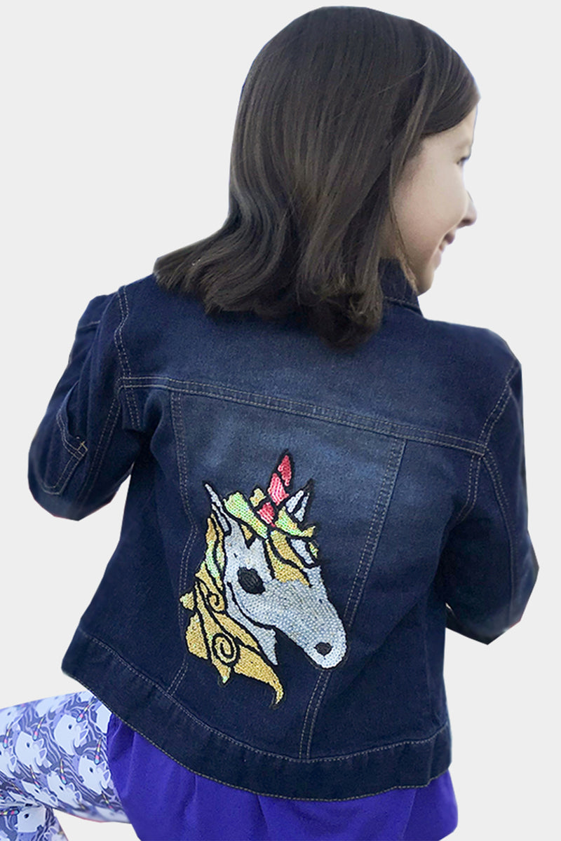 Ulyana - Hand Sequin Unicorn Jean Jacket