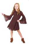 Catelina - Burgundy Printed Ruffle Sleeve Chiffon Dress