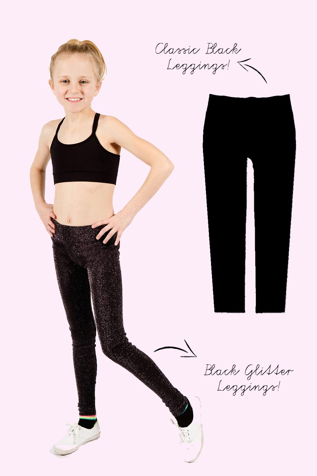 Active Leggings 2 Pack - Black and Black Glitter