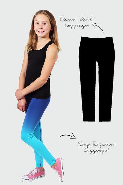 Seamless Activewear Legging 2 Pack - Black and Navy Turquoise